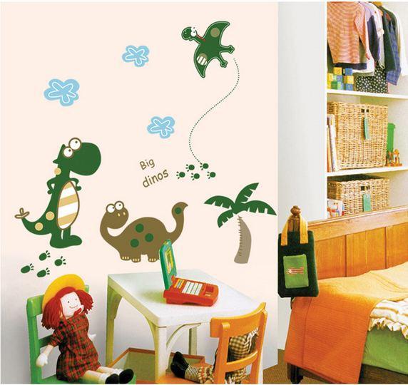 Fast Shipping Cartoon Dinosaur Wall Sticker Removable Art Vinyl Decal Wall Mural Love Home Decor Room Dragon Pet A Dinosaur Babv(China (Mainland))