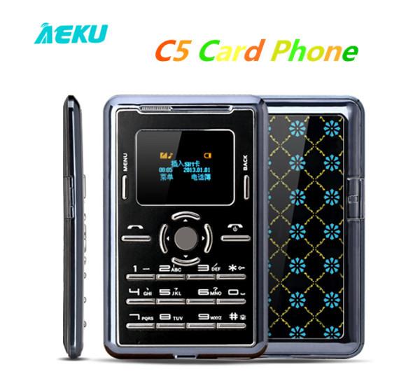 New Arrival Card Phone AEKU C5 AIEK C5 Ultra Thin Low Radiation Healthy Mini Card Phone MP3 Bluetooth Memory Card Cell Phones S#(Hong Kong)