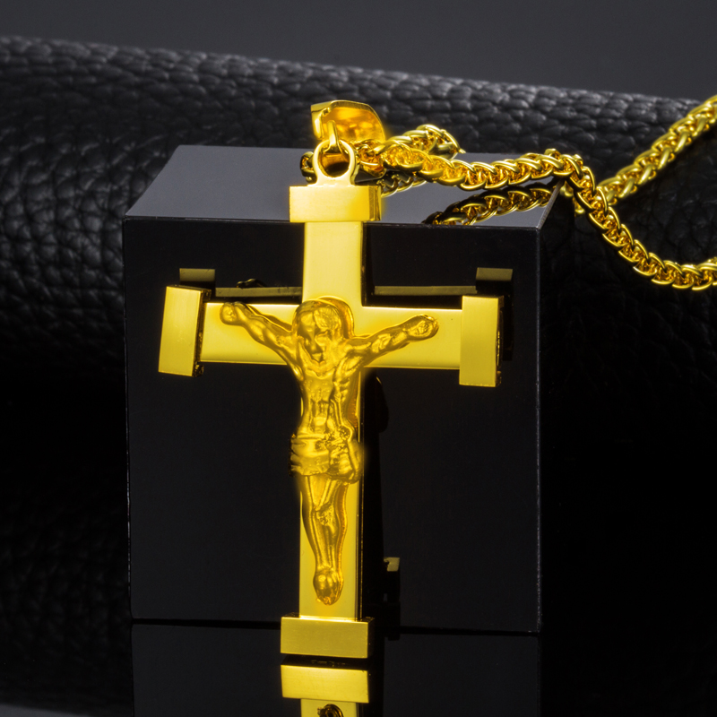 Cross Pendant New Fashion Jewelry Gift Wholesale Trendy 18K Real Gold Plated Jesus Pendant Necklace Women/ Men Jewelry(China (Mainland))