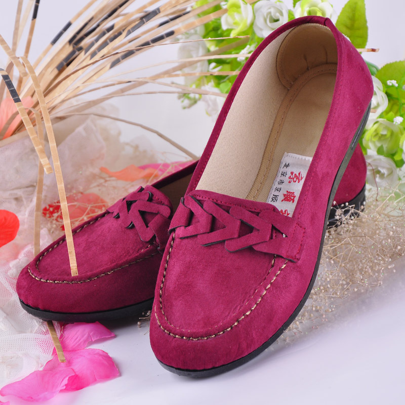 Hollow Round Toe Woman Flats Suede Leather Solid Sewing Comfort Women Shoes Slip-on Black Coffee Rose Red Zapatos Mujer Leisure(China (Mainland))