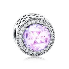Fit oryginalny bransoletka typu charm Pandora biżuteria 925 Sterling Silver różowy fioletowy czerwony niebieski szkło kryształowe wyczyść CZ promieniowania serce Charms(China)