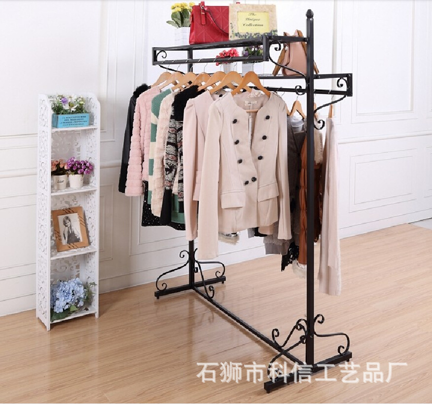 Iron clothing store clothing rack clothing display shelf display floor-double pole double clothes rack in the island<br>