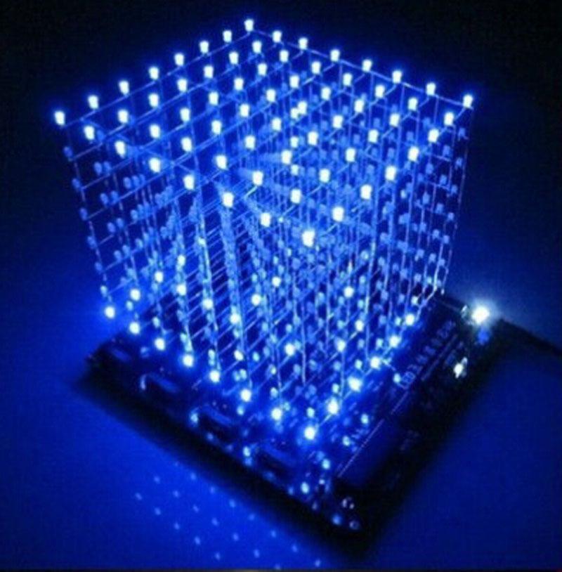 3D LightSquared DIY Kit 8x8x8 3mm LED Cube White Blue Ray - Design Mall store