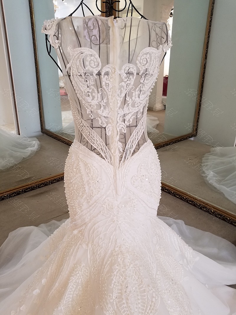 LS17006 Sexy mermaid wedding dress see through back cap sleeves tulle lace wedding gowns 2017 robe de mariee sirene 7