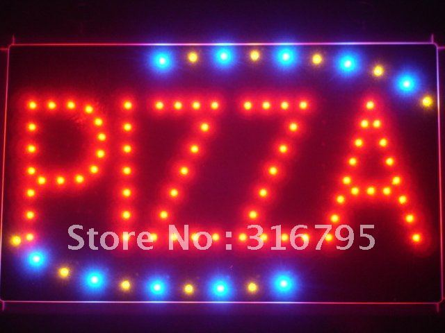 led008-r Pizza Shop OPEN LED Neon Business Light Sign