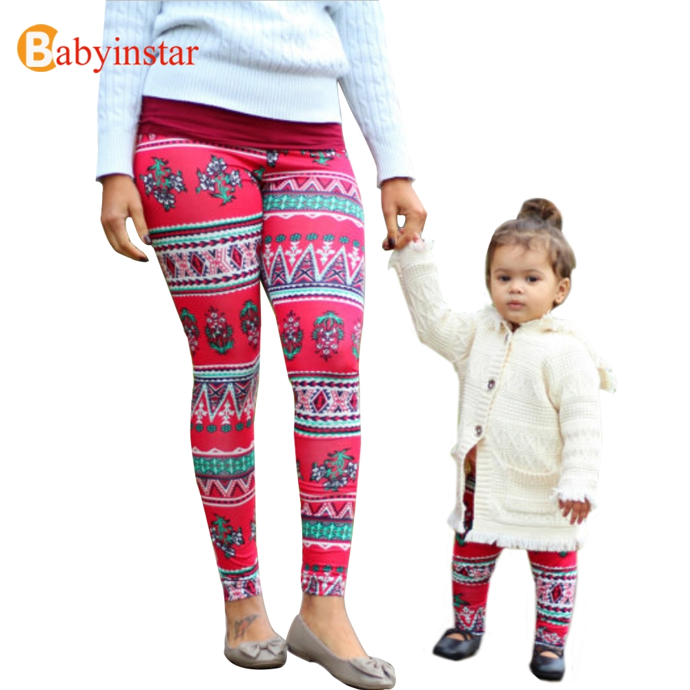 Fashion Mother and Daughter Matching Outfits Printed Elastic Tight Legging & Pants Family Leggings Family Look