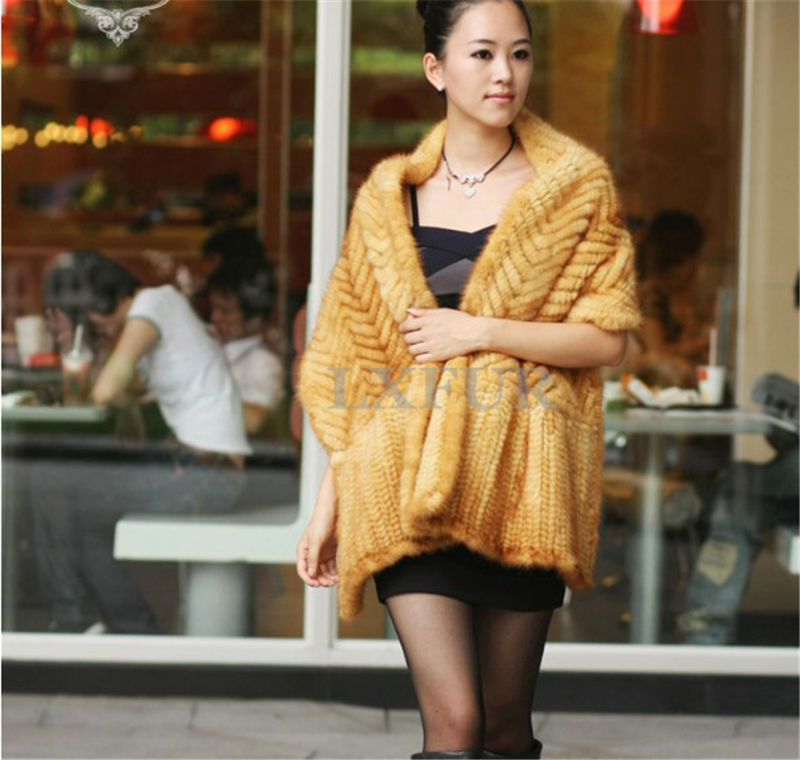 Elegant Real Knitted Mink Fur Shawl Scarf Womens Casual Poncho Knitted Mink Fur Cape Pashmina LX00062(China (Mainland))