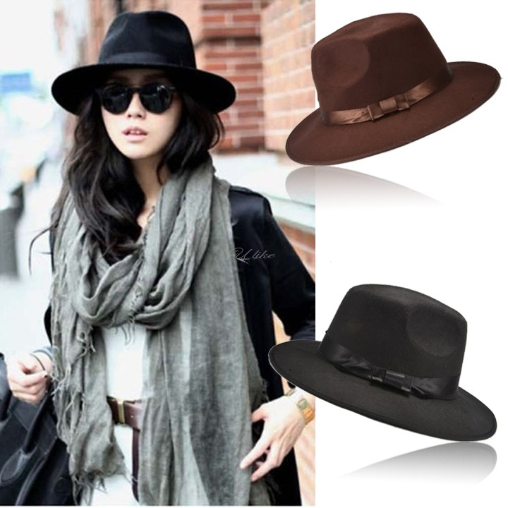 Hot Selling 2014 New Authentic Wool Fedoras Jazz Hat FashionHat Dance Advertising Cap Male Women's Wide Brim Hat Free Shipping(China (Mainland))