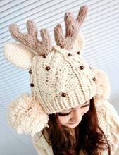 2015 New Touca Mask Aliexpress Retail Female Cute Antler Charm Beanie Hats Cartoon Shaped Deer Horn Knitted For Women [gen-745] (China (Mainland))