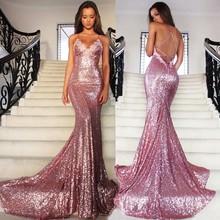 Buy 2017 Vestido De Festa Sequined Pink V Neck Mermaid Evening Dresses 2017 Shoulder Sexy Open Back Sweep Train Prom Dresses for $119.97 in AliExpress store