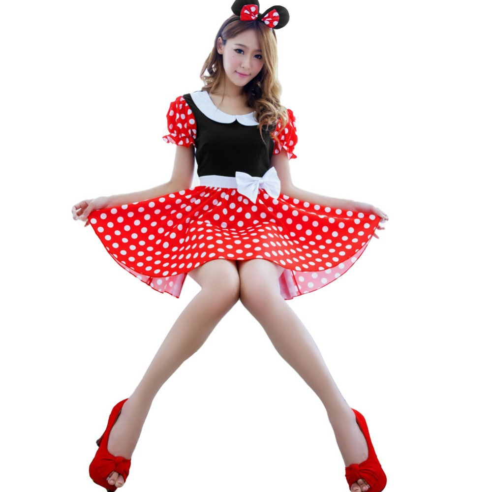 Free Shipping Sexy Christmas Minnie Mouse Women Xmas Costume Cosplay Dress Up Outfit Ear K5BO(China (Mainland))
