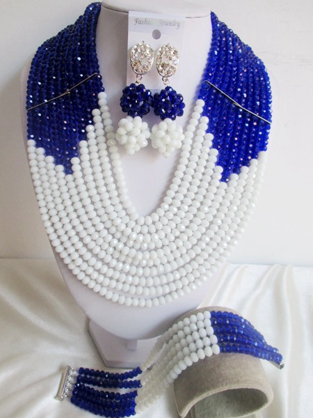 Charming Royal Blue White Crystal Nigerian Traditional Wedding African Beads Jewelry Set Free Shipping ABD351(China (Mainland))
