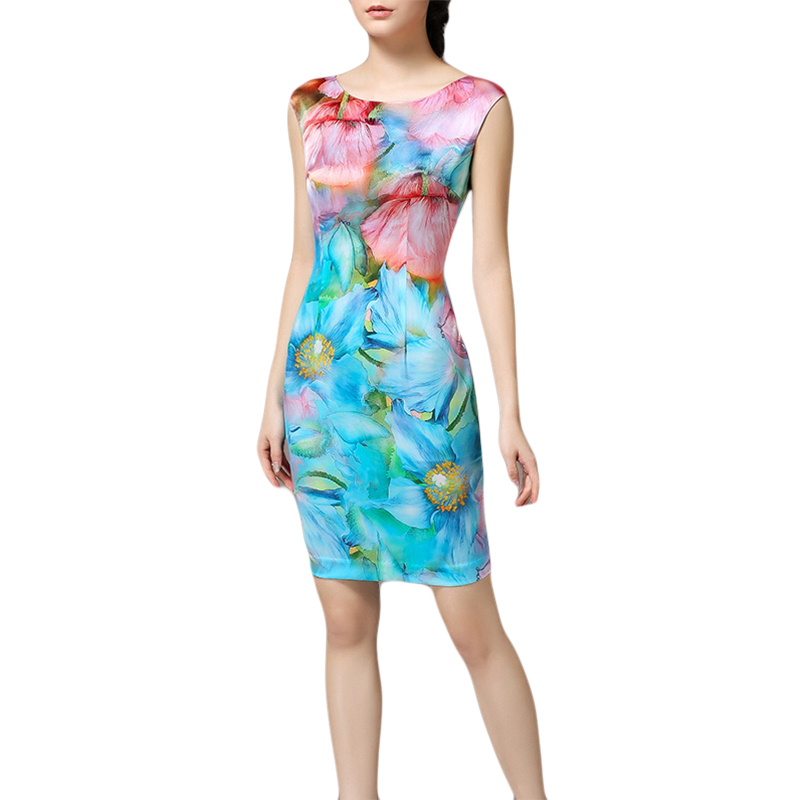 High quality silk dress ladies national trend floral print colorful chiffon dress summer breathable comfortable china style B352(China (Mainland))