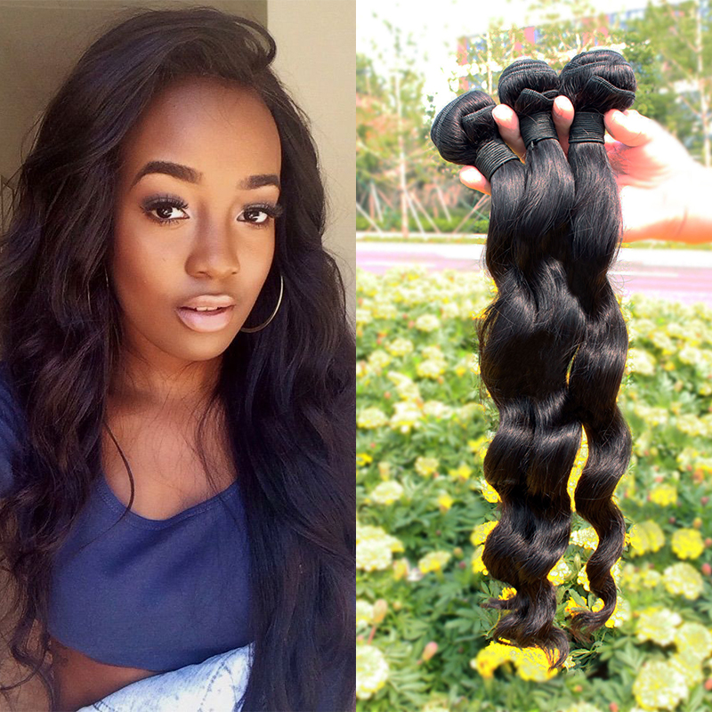 4pcs/lot Peruvian Virgin Human Hair Bundles Loose Wave Unprocessed Hair Weaves in Human Hair Extension Remy Queen Hair Products
