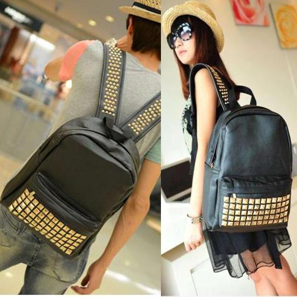 Cool Vintage Unisex PU Faux Leather Rivet Backpack Student School Bag For Women/Men Black<br><br>Aliexpress