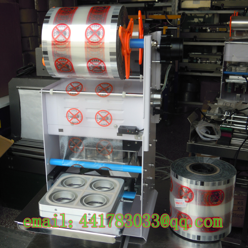 FGJ-Y4 first seal 4 cups Capper Tea jelly boxes sealing machines Sealer trays Tofu machine automatic cup sealer - TINKA MACHINERY HOUSE store