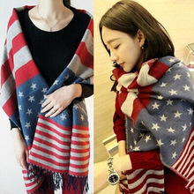 autumn/winter keep warm The American flag stars striped scarf Male ladies knitting wool fringed shawl cachecol W1029