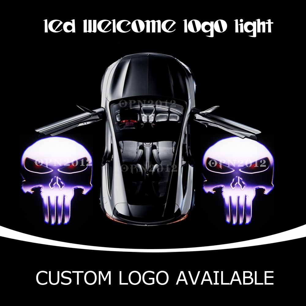 PUNISHER Skull Car Step Courtesy Light LED Projector Logo Laser Ghost Shadow Puddle Light For CADILLAC FORD CORVETTE DODGE 2208(China (Mainland))