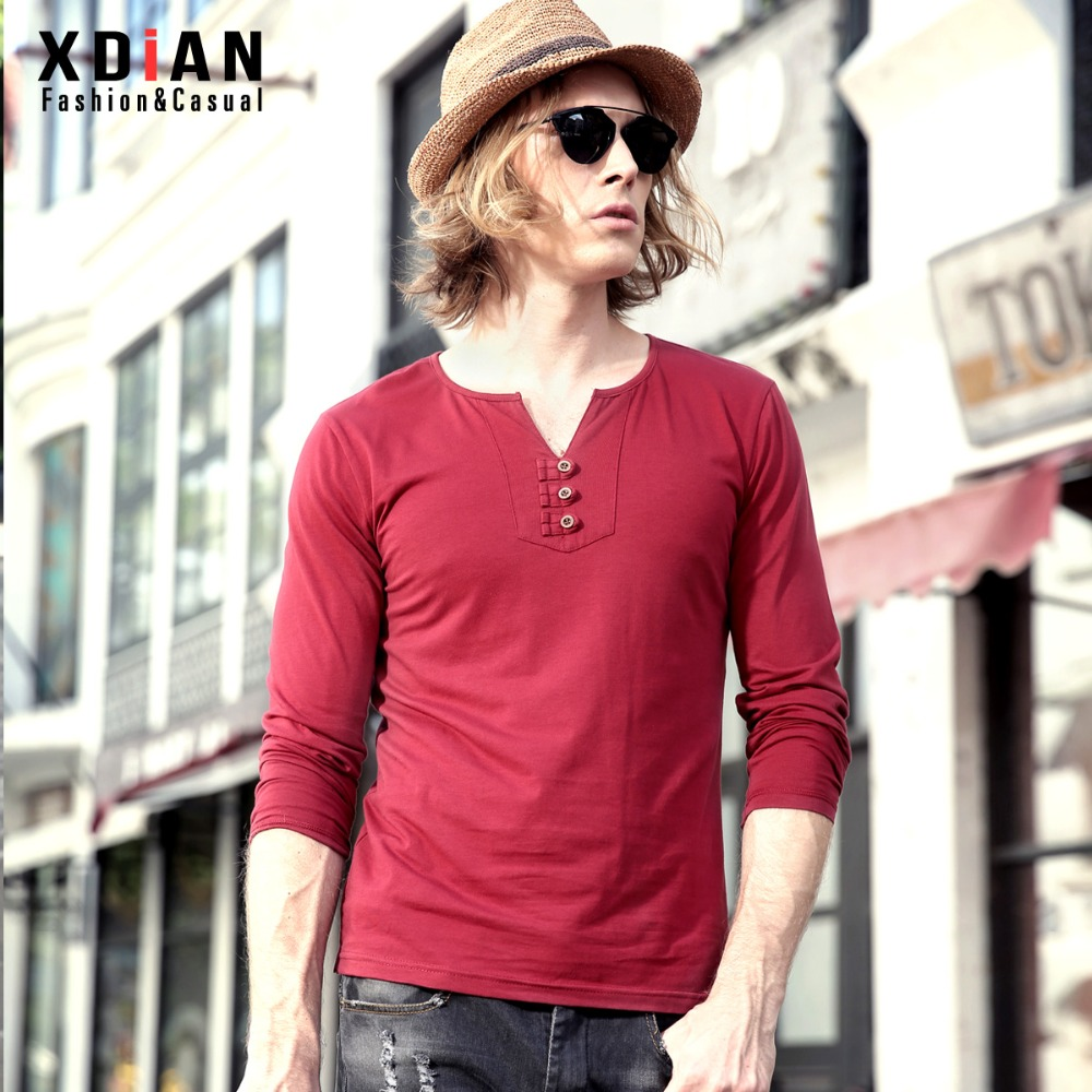 XDIAN New men long sleeve pure color T-shirt v-neck button decorative fashion male god T-shirt T-1112(China (Mainland))