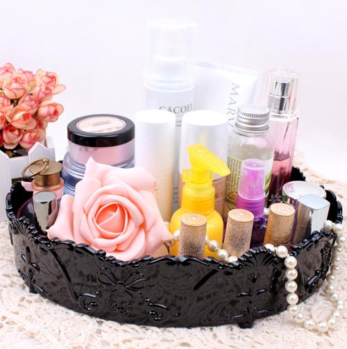 Oversize vintage elliptical cosmetic storage box jewelry storage trays perfume skin care products finishing box makeup organize(China (Mainland))