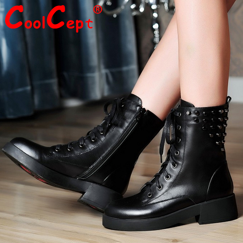 CooLcept Free shipping ankle half short natural real genuine leather boots women snow boot high heel shoes R4899 EUR size 34-40<br><br>Aliexpress