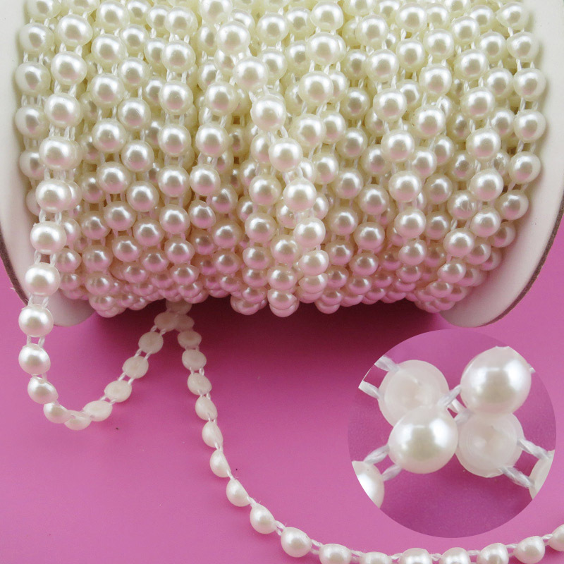 6mm Pearl 25m/roll New Craft Beads Pearls Sew On Perolas Para Artesanato 5 Color ABS Half Round Flatback Trim For Bride Dress(China (Mainland))