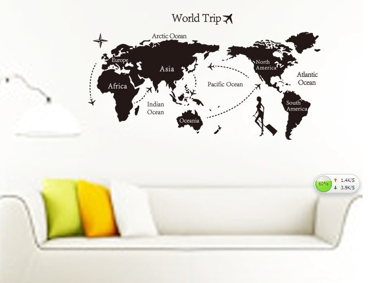 Free shipping decor sticker 140*80CM large World map wall decor stickers removable PVC home decoration wall paper(China (Mainland))