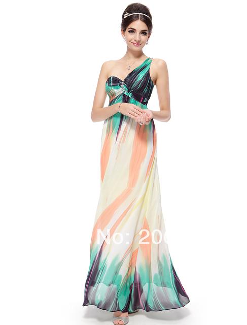 Вечерние платья тех довольно HE08008GR одно плечо геометрическая фигура печатные ...