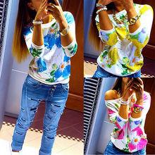 Новая женская — цветочные длинным рукавом ти футболка свободного покроя о-образным вырезом свободного покроя топы