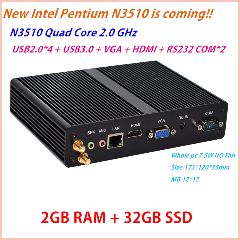 Intel Pentium N3510 Newest Arrival Cloud Terminals Micro Computers fanless mini pc blue-ray HD 1080P ddr3 2G RAM 32G SSD(China (Mainland))