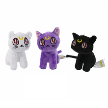 3type Cute Edition Sailor Moon White Purple Black Plush Dolls 18cm Japanese Hot Anime Collections Toys Present #F