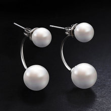 Buy Hot Silver Color Double Side Earing Fashion Jewelry Crystal Ball Stud Earrings Women Simulated Pearl Earrings Free for $1.60 in AliExpress store