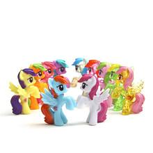 J259 Kawaii!! 6pcs/set 4-5cm Animation Kids Toys Little Horse Action Figure Toy Cartoon MLP Rainbow Horse Children's Gift (China (Mainland))