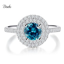 engagement silver plated rings for women sapphire Blue stone CZ diamond jewelry vintage accessories unique product Bijoux DR182