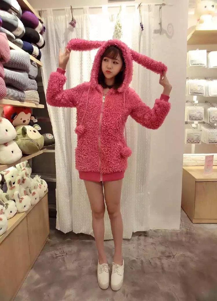 Rabbit Ears Sweatshirt 15 Autumn Winter Harajuku Fluffy Hoodies Kawaii Ball Jacket Long Hooded Women Coat Rabbit Ears Sweatshirt