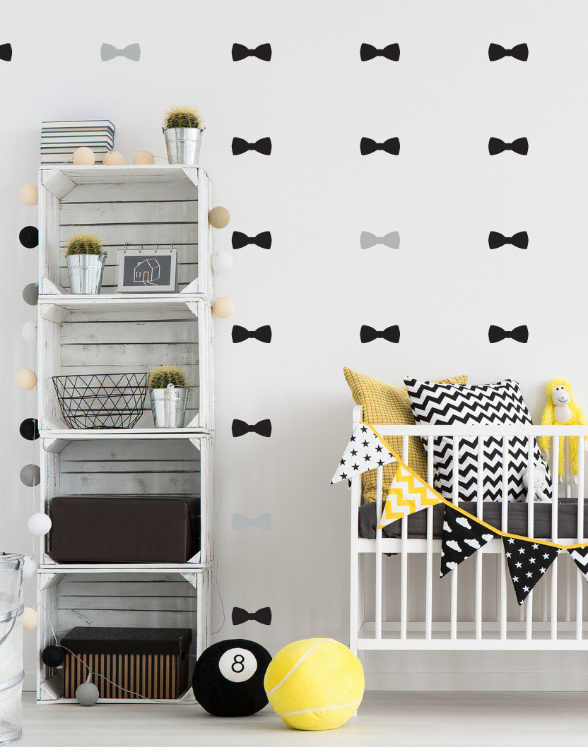 Ins Hot Sale Bow Tie Decal Removable Wall Stickers For Kids Room Nurery  Black Grey Bow Wallpaper Mural Vinilos Paredes D965