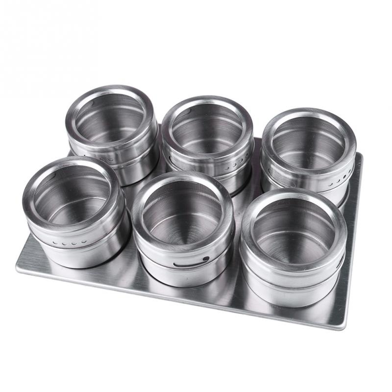 New Arrival 6 Pcs Portable Practical Home Kitchen Assistants Stainless Steel Magnetic Spice Jars with Stainless Trestle Rack(China (Mainland))