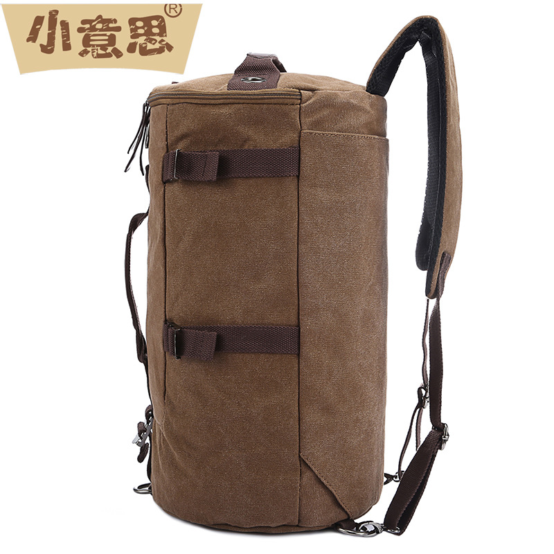A little something manufacturer wholesale casual Canvas Backpack barrel Mens multi function backpack from one hair(China (Mainland))