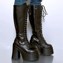 6 inch Square Heel High plaftorm Unisex Knee High Goth Steampunk Lace Up Boots