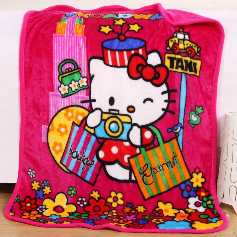 2016 Children Baby Blanket Coral Fleece for Newborn Soft Infant Bedding Girl Boy Hello Kitty SpongeBob Cartoon Character For Kid(China (Mainland))