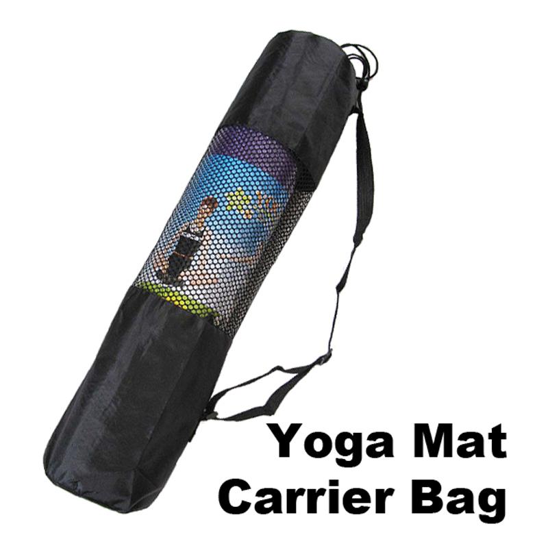 2015 New Arrival Fine Nylon Yoga Mat Bag Carrier Mesh Center Black W Free Shipping