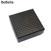 BeBella jewelry box paper gift box packaging size 7.5x7.5x3.5 cm in white and black colors(China (Mainland))