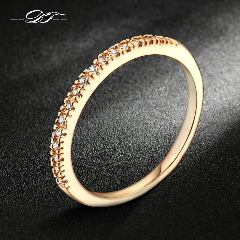 Micro Pave CZ Diamond Wedding Engagement Rings Silver Rose Gold Plated Fashio