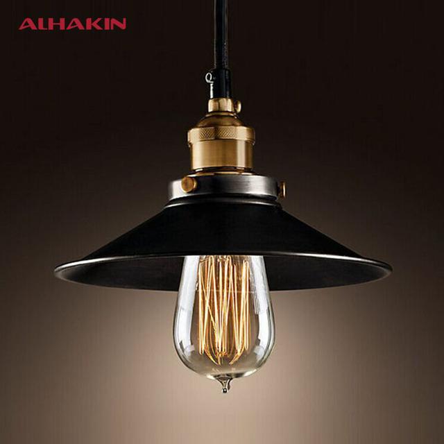 Alhakin стиле лофт диаметр 22 см кулон светло-черный старинный промышленное освещение американский кантри медное основание висит лампа