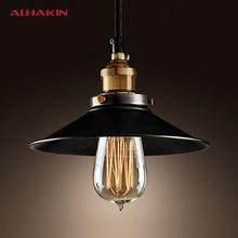 ALHAKIN Loft Style Dia 22cm Pendant Light Black Vintage Industrial Lighting American Country Copper Base Hanging Lamp(China (Mainland))