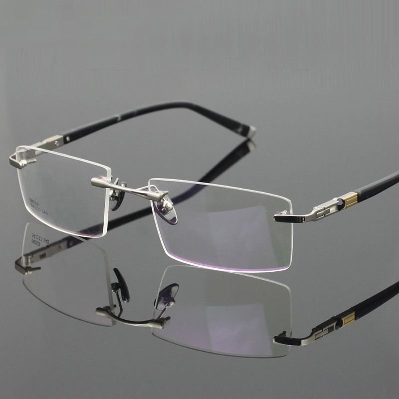 Rimless Glasses Lightweight : Titanium Eyeglasses Rimless Ultra Light Myopia Optical ...