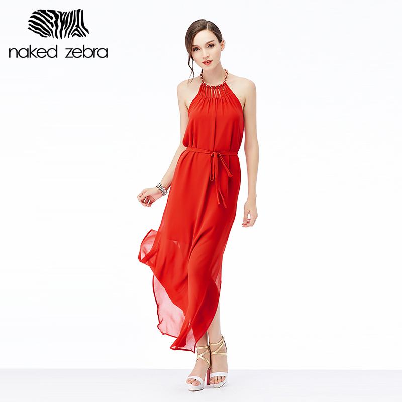 NAKED ZEBRA 2016 summer bandage halter dress evening party long dresses casual holiday chiffon sundress backless(China (Mainland))