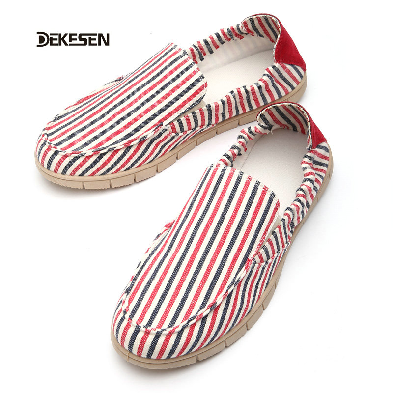Dekesen Striped Men shoes Spring Summer fashion Hemp Shoes Unisex Casual flat shoes Man Women Slip-on Driving Shoes mocassins Q7