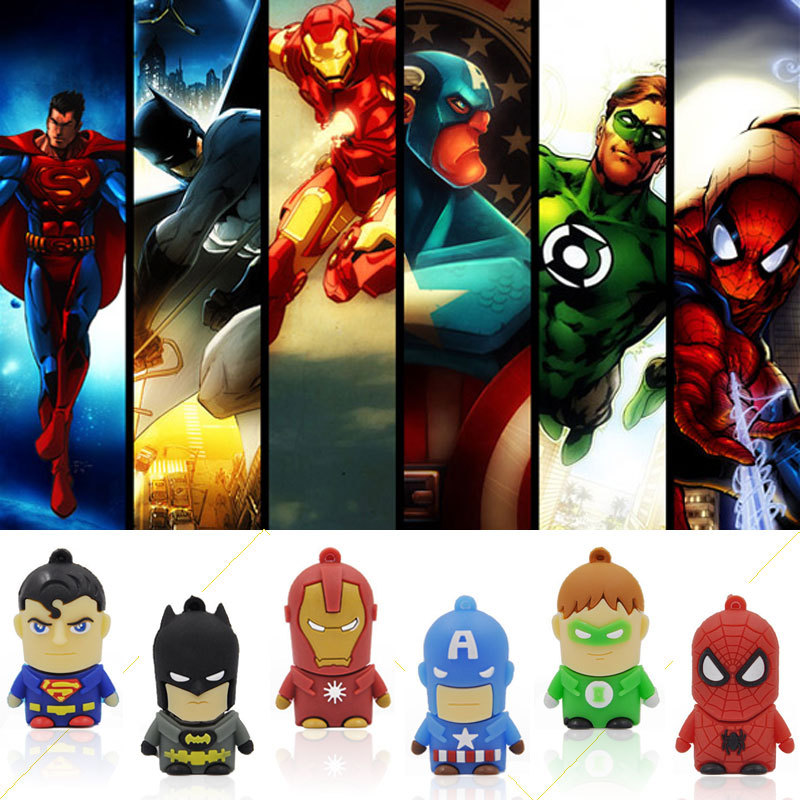 Гаджет  usb flash drive Super Hero pen drive cartoon hot sale usb stick cute mini pendrive 2G 4G 8G 16G  U disk flash card Freeshiping None Компьютер & сеть