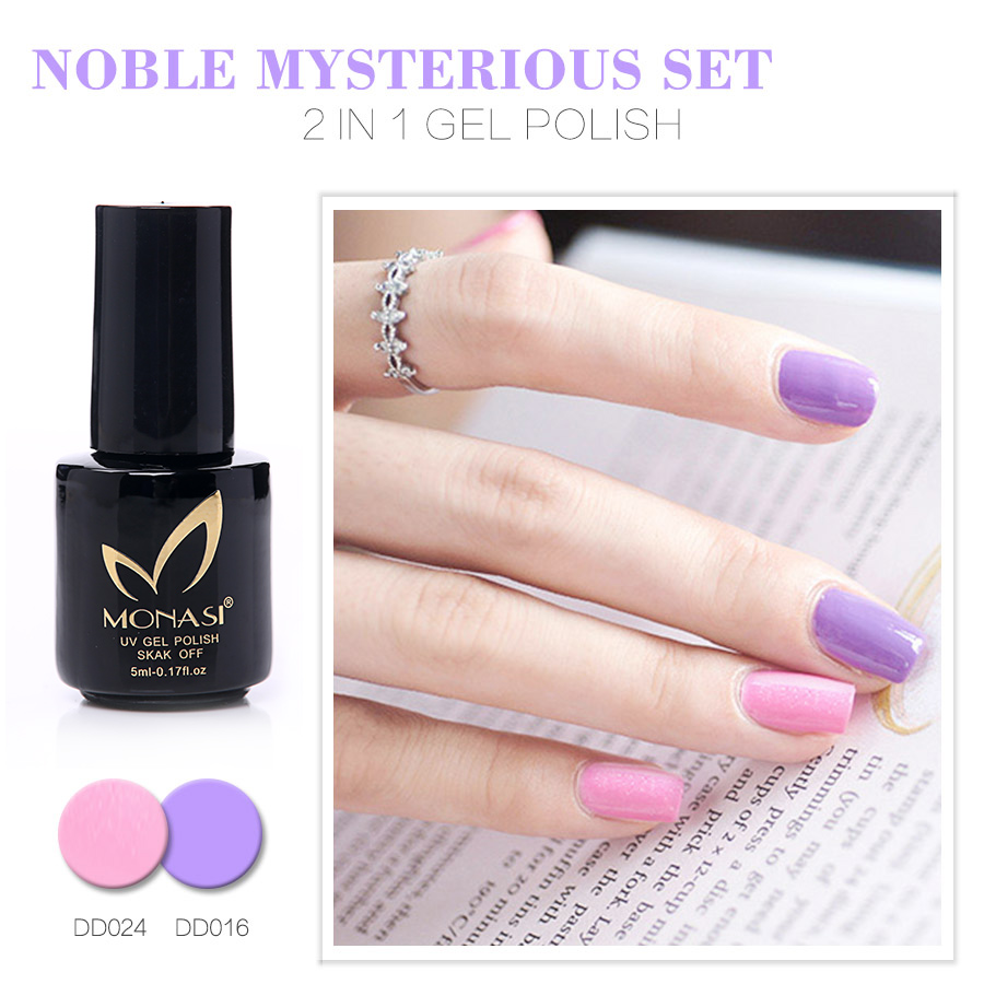 MONASI 5ml 2 In 1 Gel Nail Polish Long-Lasting Soak-Off LED UV Gel Lacquer Pink Color Cute 112 Colors Nail Gel Manicure Varnish(China (Mainland))